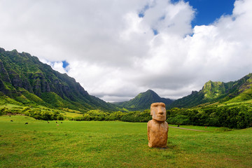 Easter island head on Kualoa Ranch, Oahu