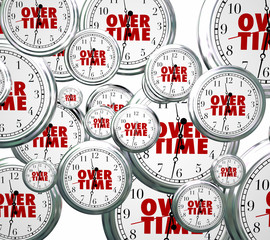 Overtime Word Clocks Flying By Extra Added Late Work Job