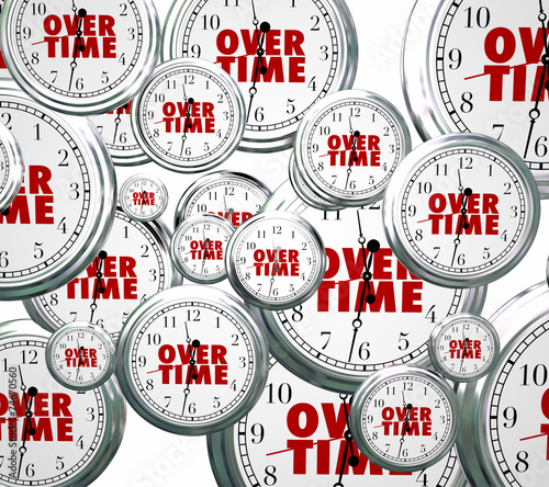 canvas print picture Overtime Word Clocks Flying By Extra Added Late Work Job