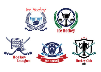 Ice hockey emblems and symbol set
