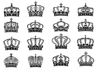 Medieval heraldic royal crowns set