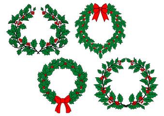 Christmas holly wreaths set