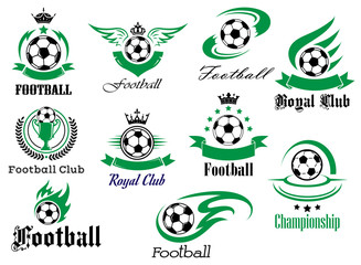 Football or soccer sports heraldic emblems and symbols