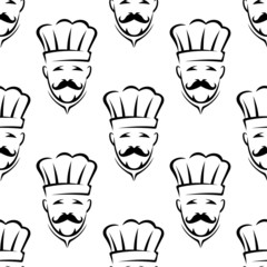 Mustached chef seamless pattern background