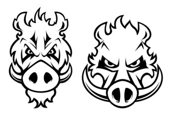 Angry wild boar heads character