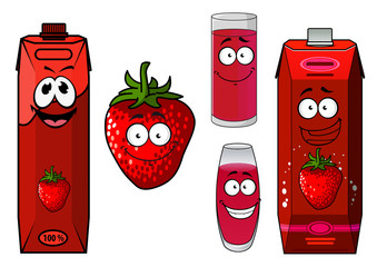 Strawberry fruit, smoothie and juice icon set