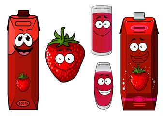 Strawberry fruit, smoothie and juice icon set