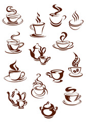 Fragrant coffee cups in sketch style