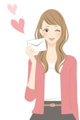 手紙を持つ女性 ハート