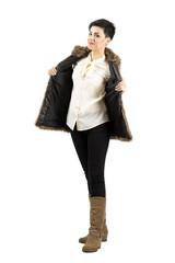 Cute young fashion model posing
