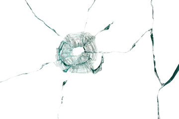 Broken glass with cracks on a white background