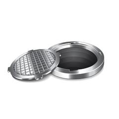 Opened manhole isolated on white vector