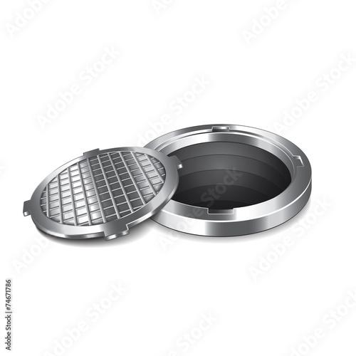 Opened manhole isolated on white vector - 74671786