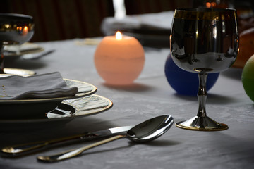 Elegant table set for dinner