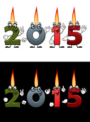 Lighted cartoon candle numbers 2015