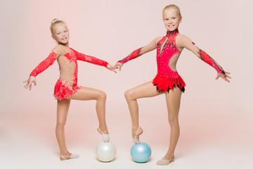 Two cute artistic gymnasts