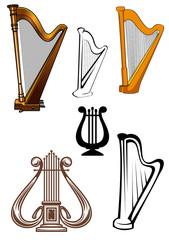 Harps ans lyres stringed musical instruments