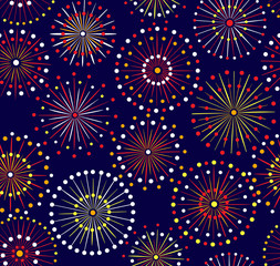 Seamless fireworks night pattern
