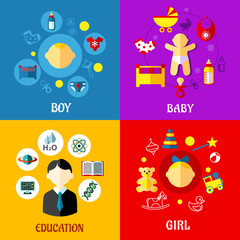 Childhood concepts design in flat style