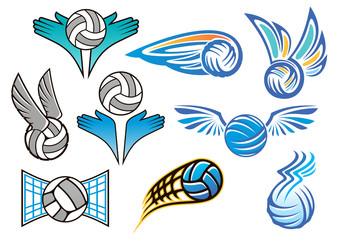 Sporting volleyball emblems and designs