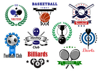 Heraldic sports emblems, symbols and design