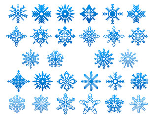 Blue winter snowflakes icons set