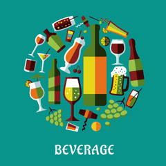 Beverages and alcohol drinks flat design poster