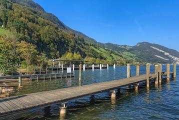 View on Lake Alpnachersee in Alpnachstad