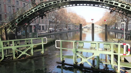 Opening gate of Saint Martin canal in Paris, France.