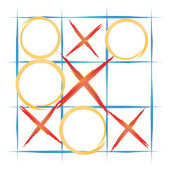 watercolor background, TIC TAC toe, vector illustration