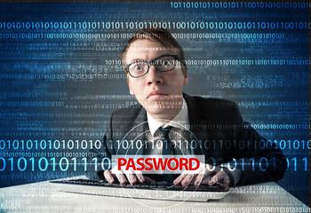 Young geek hacker stealing password