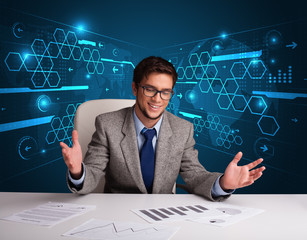 Businessman doing paperwork with futuristic backgroung