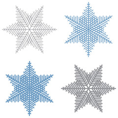 Blue and grey snowflakes.