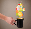 Tea cup with colorful speech bubbles