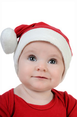 Very happy little girl in Santa Claus day