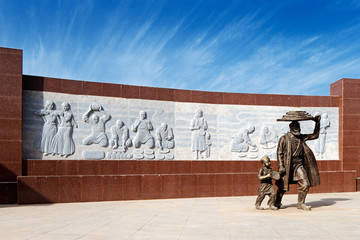 A modern sculpture in the ancient city of Kashgar, China