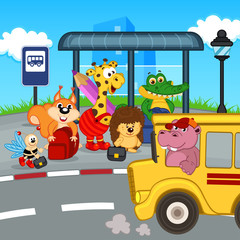 animals at bus stop waiting school bus - eps