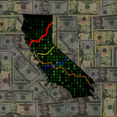 California map with hex code and graphs on dollars illustration