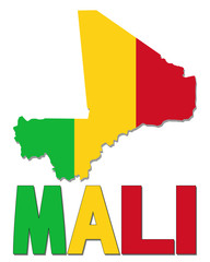 Mali map flag and text illustration