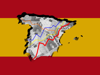 Spain map with flag and graphs on Euros illustration
