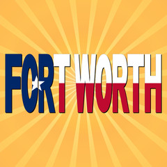 Fort Worth flag text with sunburst illustration