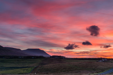 Ingleborough at sunset