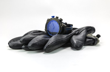 sports watches and leather gloves for men