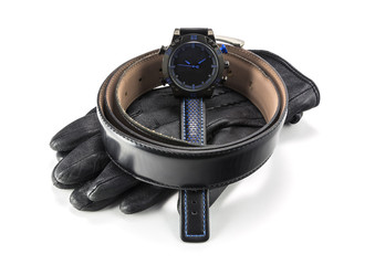 sports watch, leather gloves and belt for men