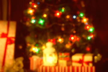 Abstract christmas background, light blur creating bokeh.