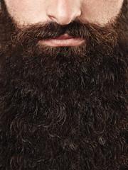 Closeup portrait of long beard and mustache man