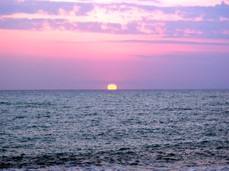 Bright red sea sunset