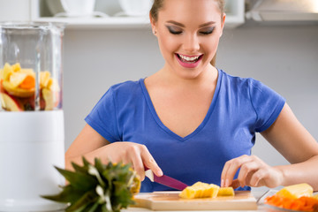 Young woman preparing healthy food