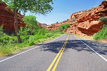 Empty road through the American West