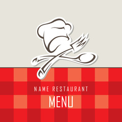 menu design with cook and kitchenware